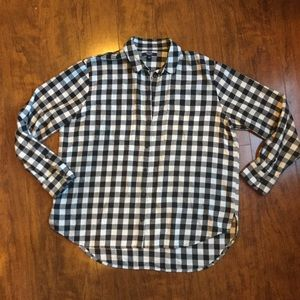 Madewell- Black/White Buffalo Plaid Shirt. Sz L